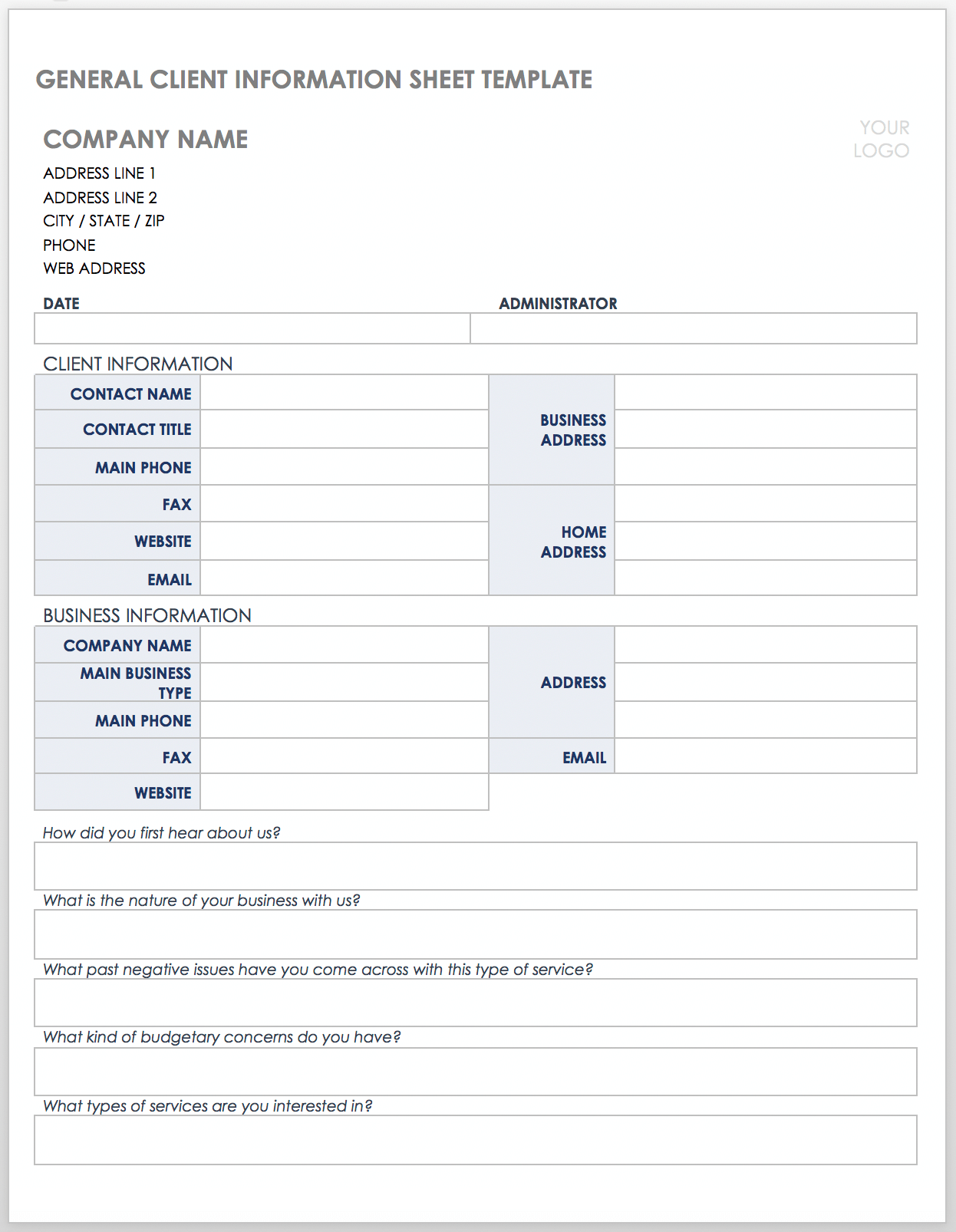 Free Client Information Forms & Templates  Smartsheet In Customer Information Card Template
