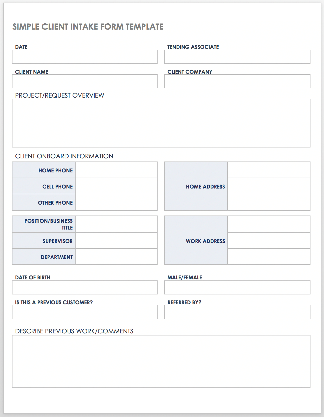 Free Client Intake Templates and Forms  Smartsheet With Regard To Medical History Template Word
