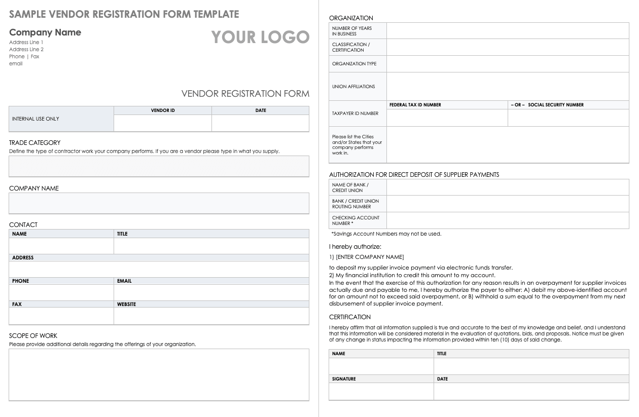 Free Vendor Registration Forms   Smartsheet