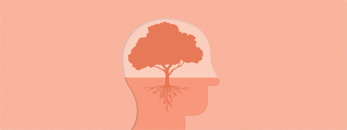 An outline of a person's head with a tree growing in the space where the brain would be
