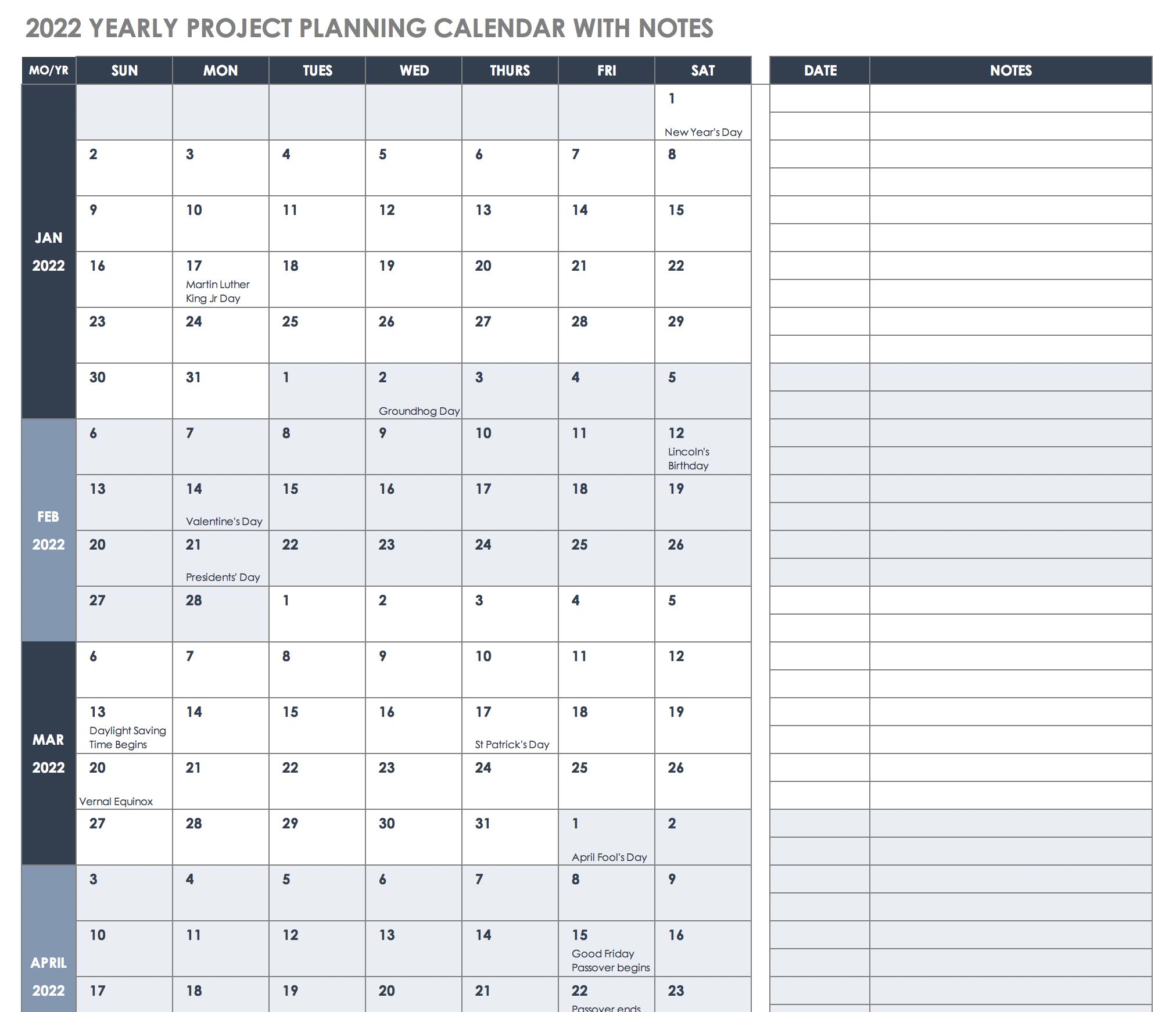 2022 Weekly Calendar Excel.Free Project Calendar Templates Smartsheet