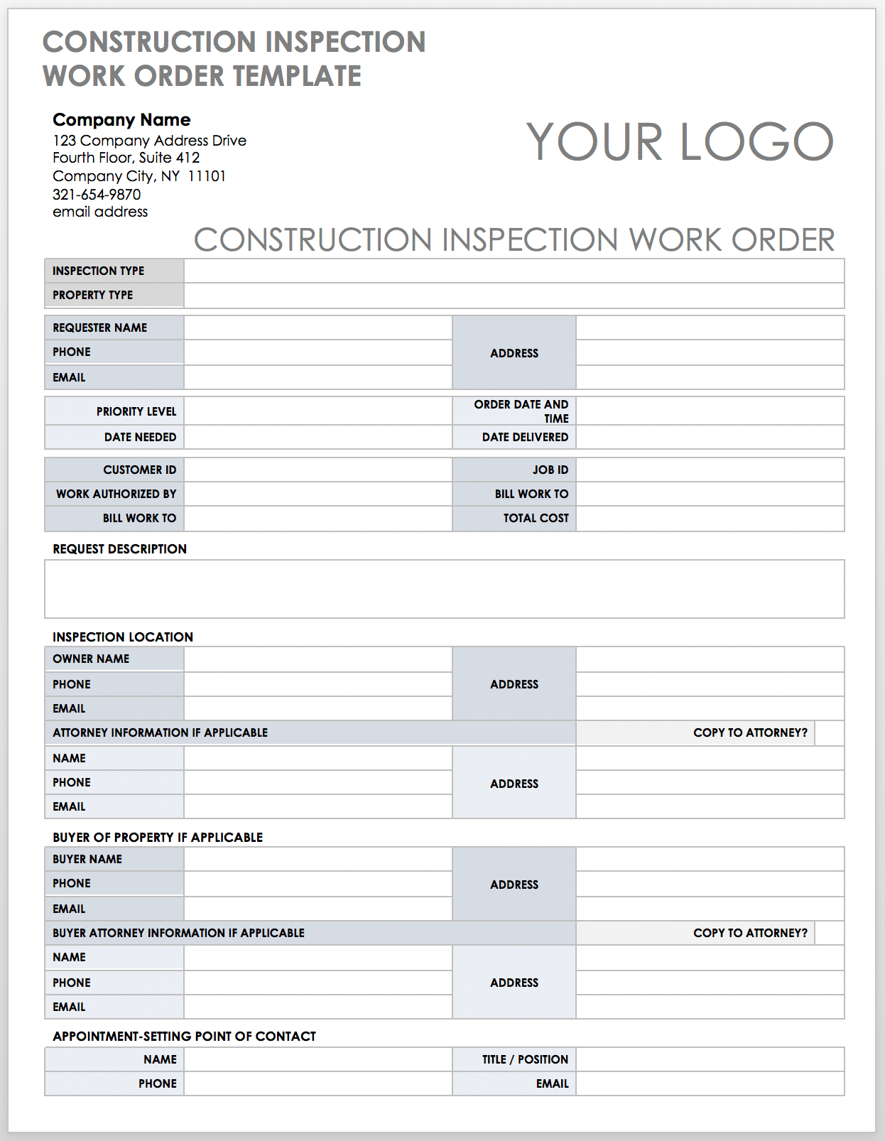 Free Construction Work Order Templates & Forms   Smartsheet