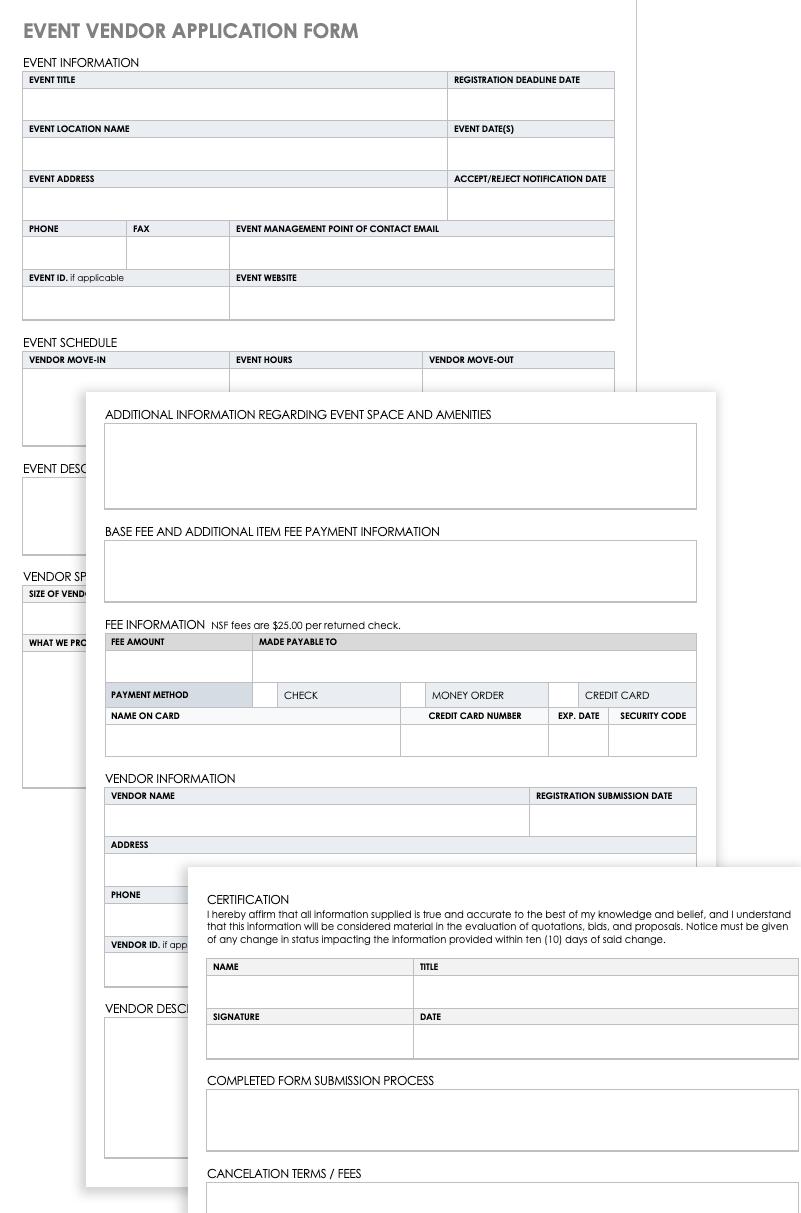 Free Vendor Application Forms Templates Smartsheet