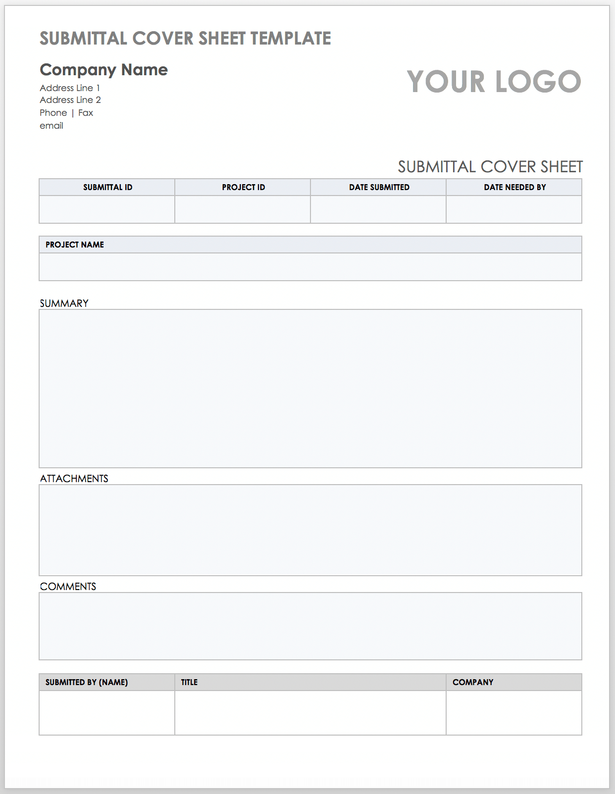 free construction submittal templates