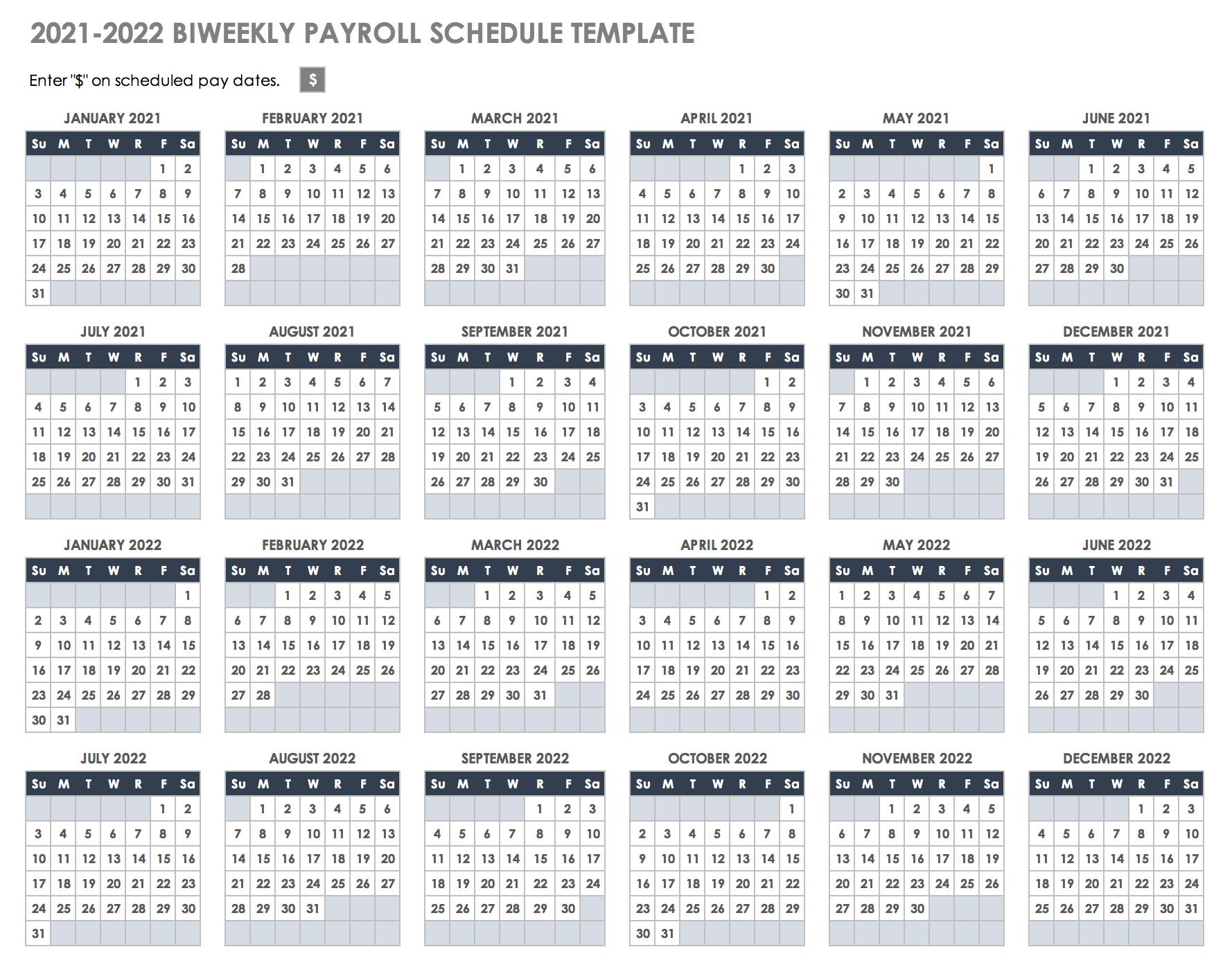 2022 Biweekly Calendar.15 Free Payroll Templates Smartsheet
