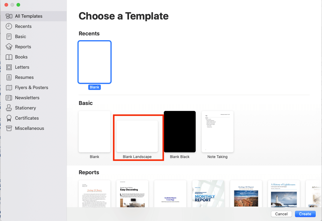 Choose Apple Pages Template