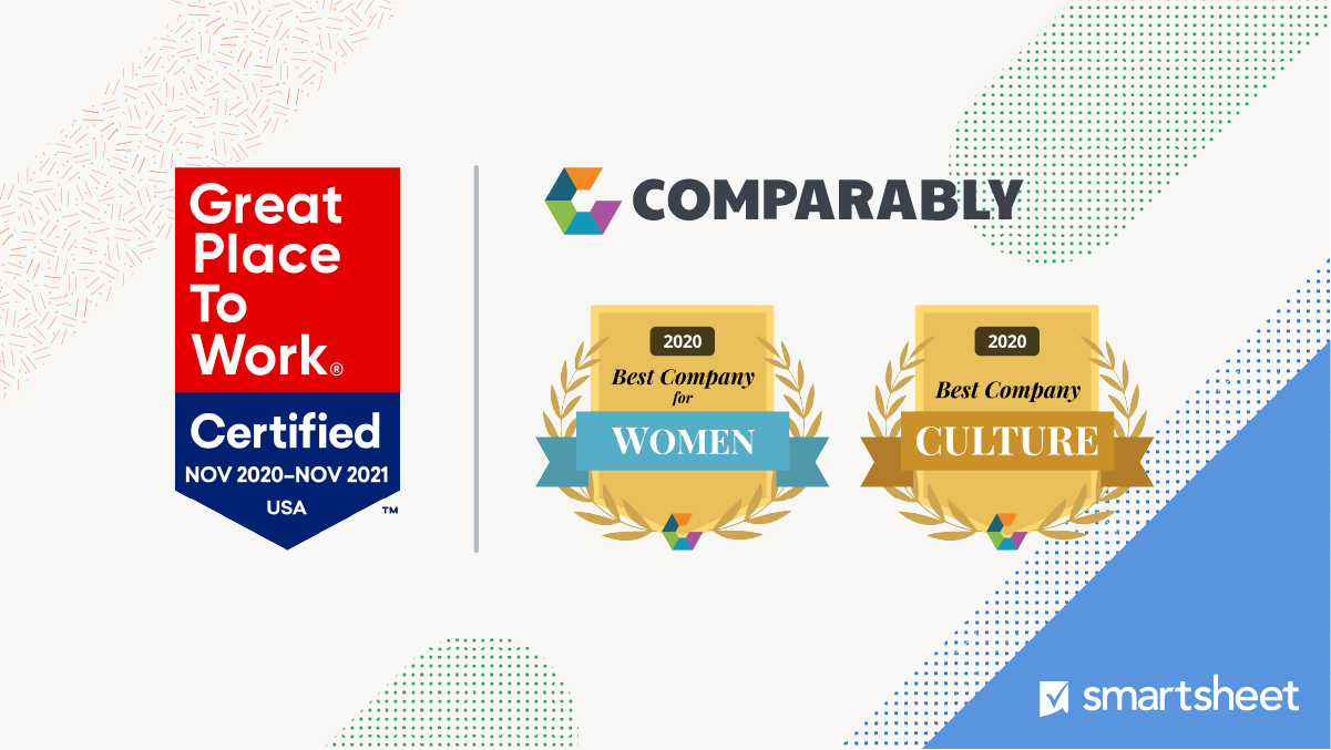 Blue and red badge with text Great Place to Work Certified Nov 2020 to Nov 2021 USA alongside two gold badges from Comparably 2020 Best Company for Women and 2020 Best Company Culture with the Smartsheet logo in the corner