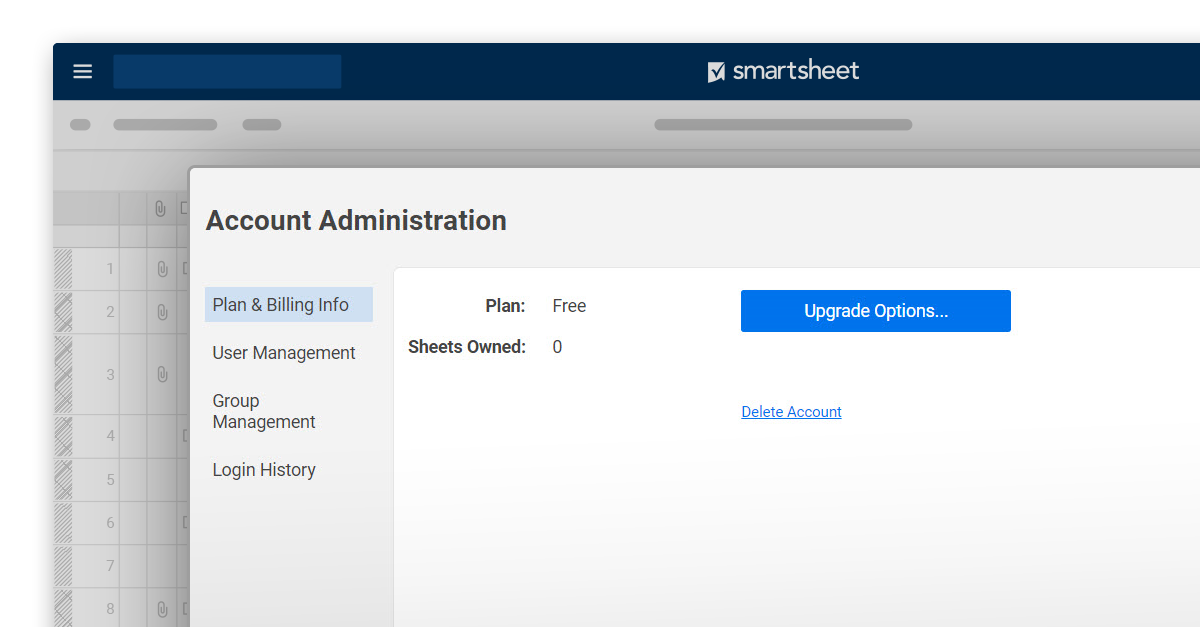 Screenshot of Account Administration options in Smartsheet platform.