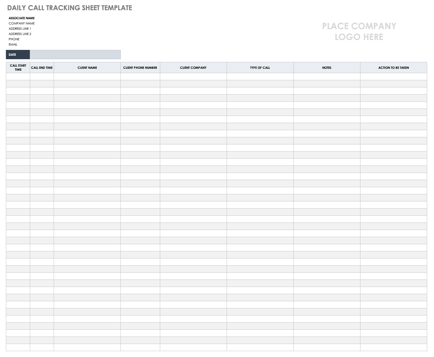 Daily Call Tracking Sheet Template