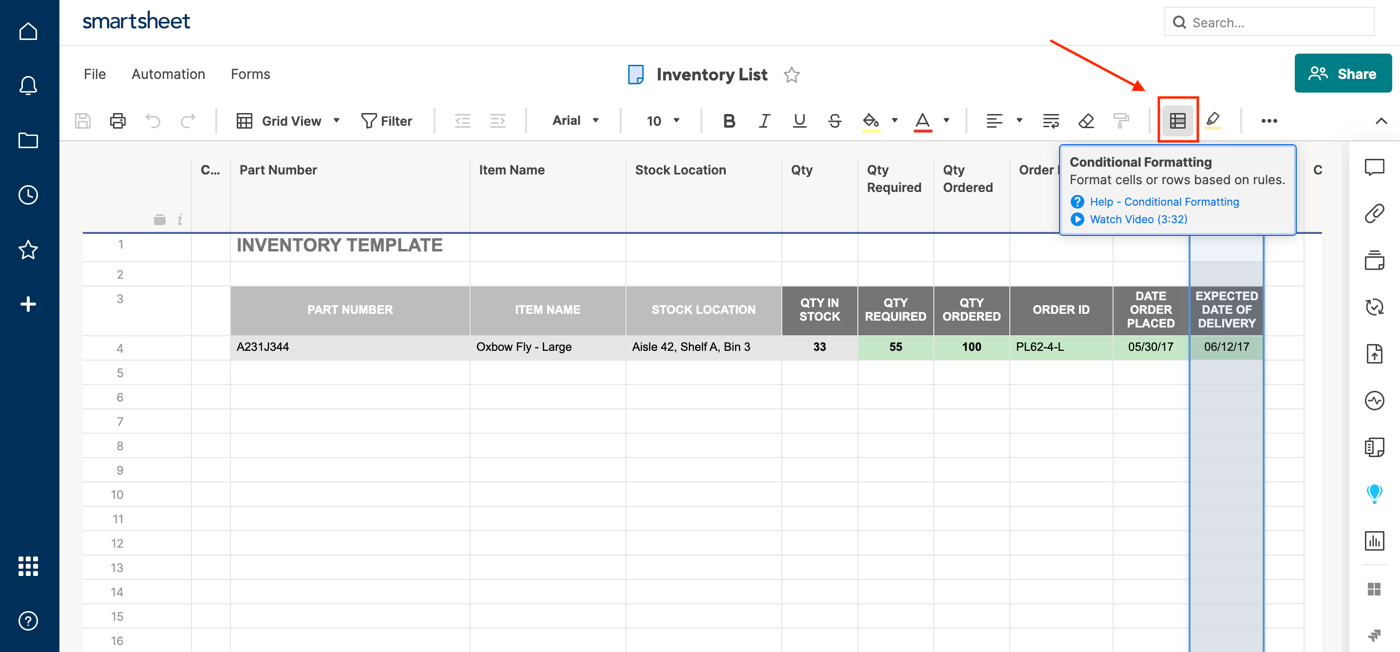 Conditional Formatting Smartsheet
