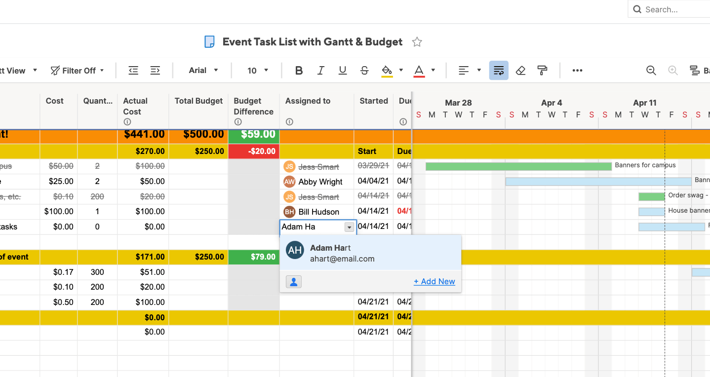 Assign event tasks in Smartsheet