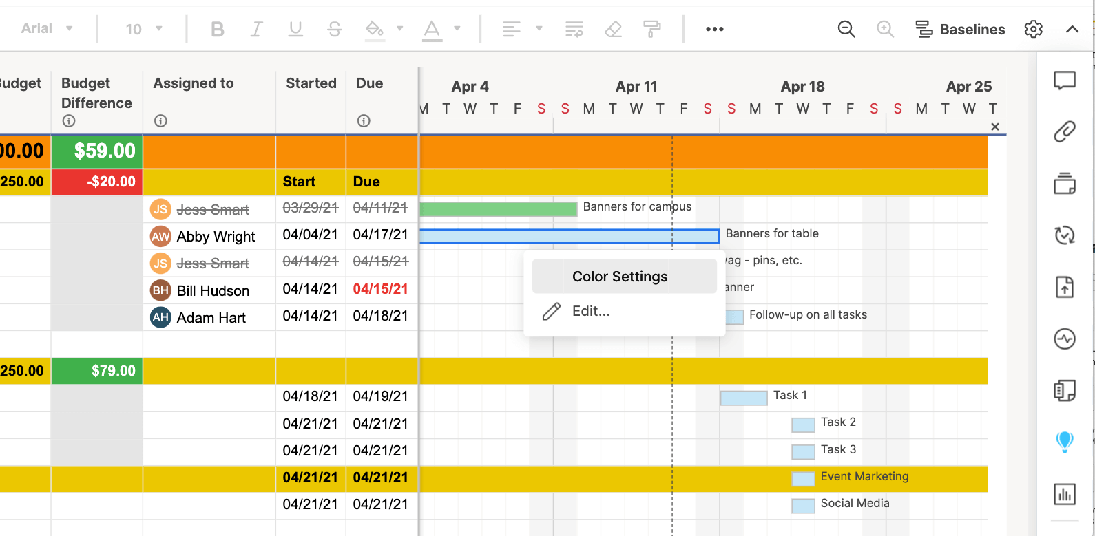 Edit Gantt bar color settings in Smartsheet