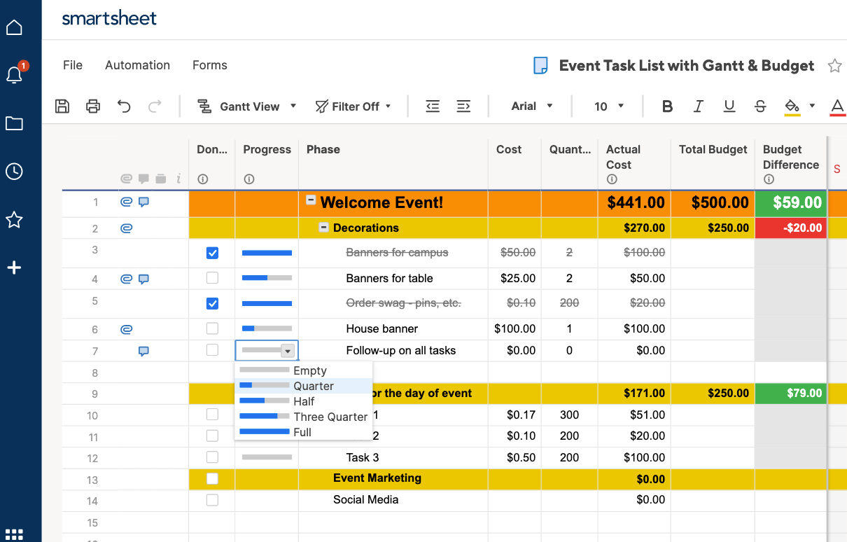 Progress dropdown selection in Smartsheet