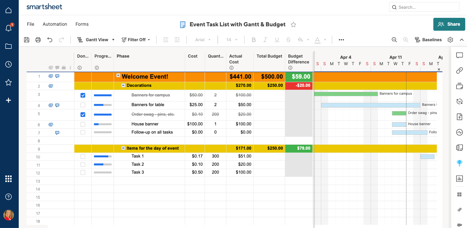 Event task list with Gantt Chart Smartsheet