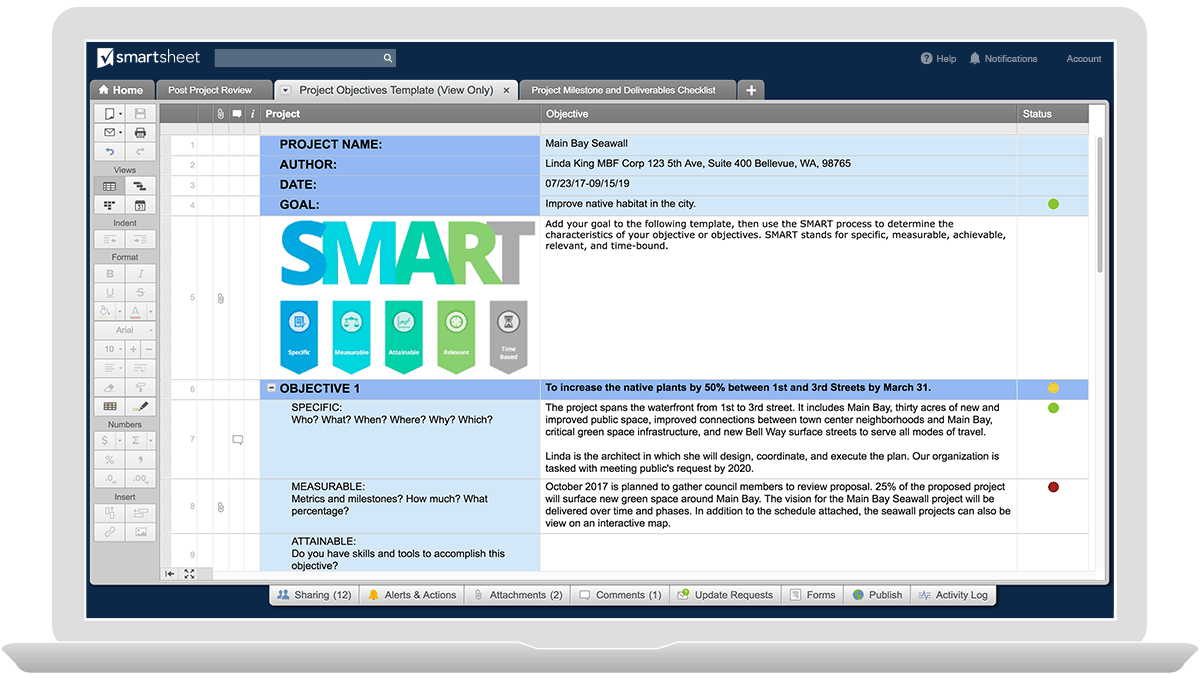 How to write smart project objectives smartsheet project objectives template accmission Image collections