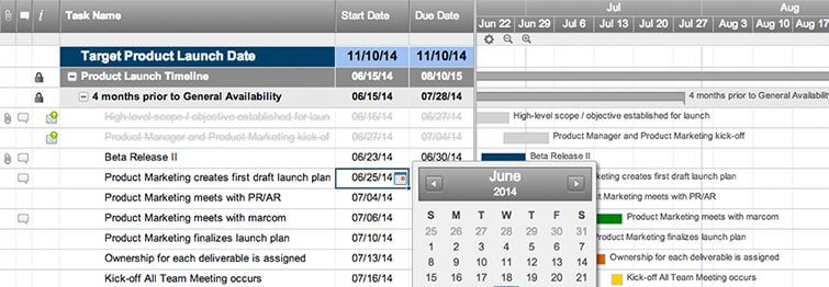 4-month Product Launch with Gantt