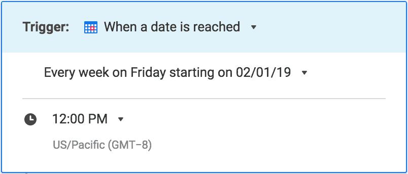 Weekly update automated workflow trigger in Smartsheet app