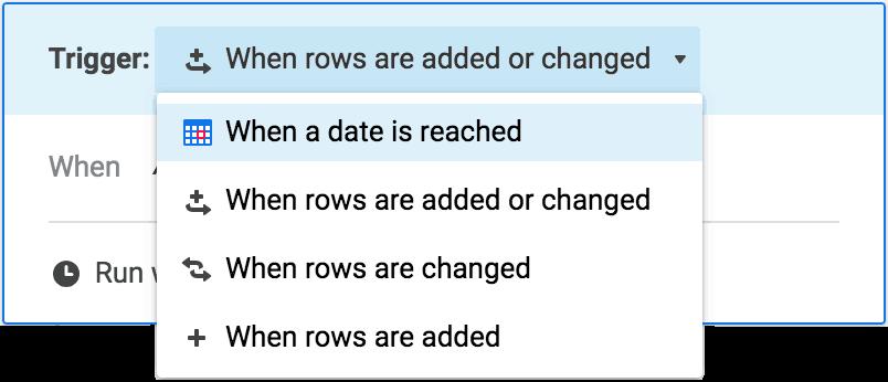 Choosing triggers for automated workflow in Smartsheet app