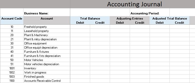 Free accounting templates in excel an accounting journal is an accounting worksheet that allows you to track each of the steps of the accounting process side by side fbccfo Gallery