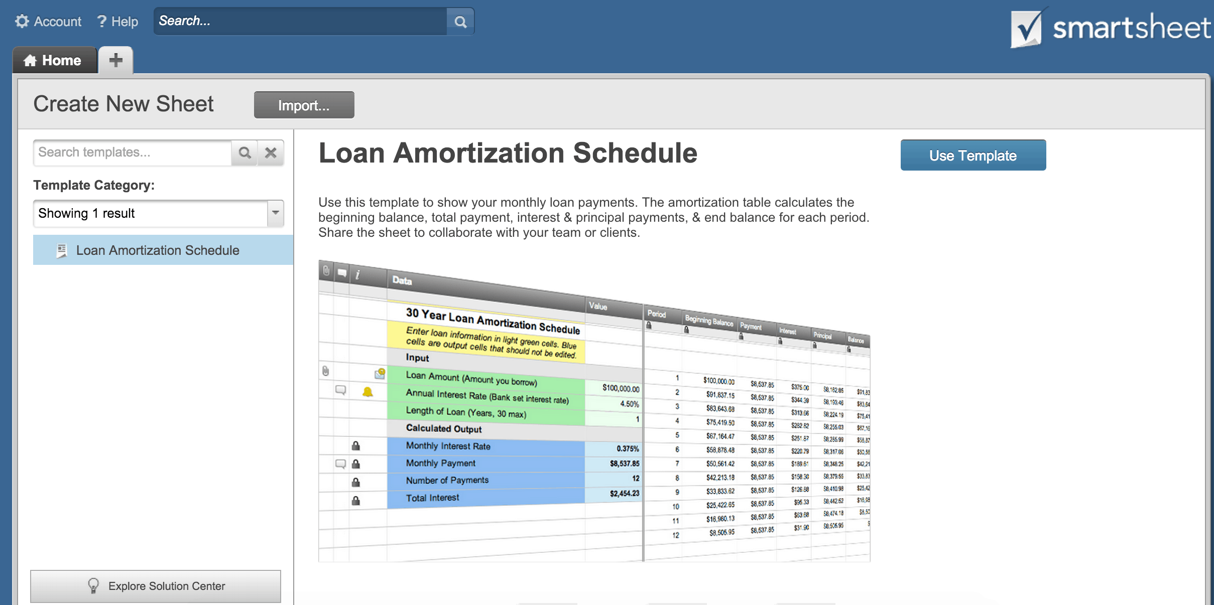how to create an amortization schedule smartsheet