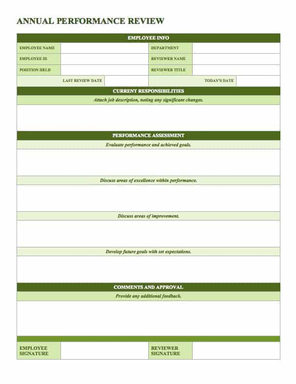 Wonderful This Annual Performance Review Template Is Separated Into Four Sections:  Current Responsibilities, Performance Assessment, Professional Development  Plan, ... To Performance Review Template Word