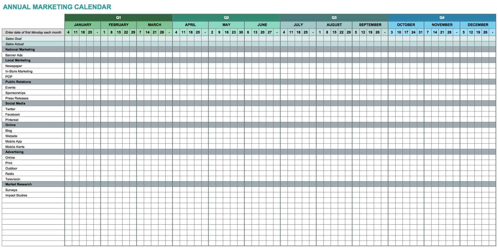 Free Marketing Calendar Templates For Excel Smartsheet - Promotional calendar template