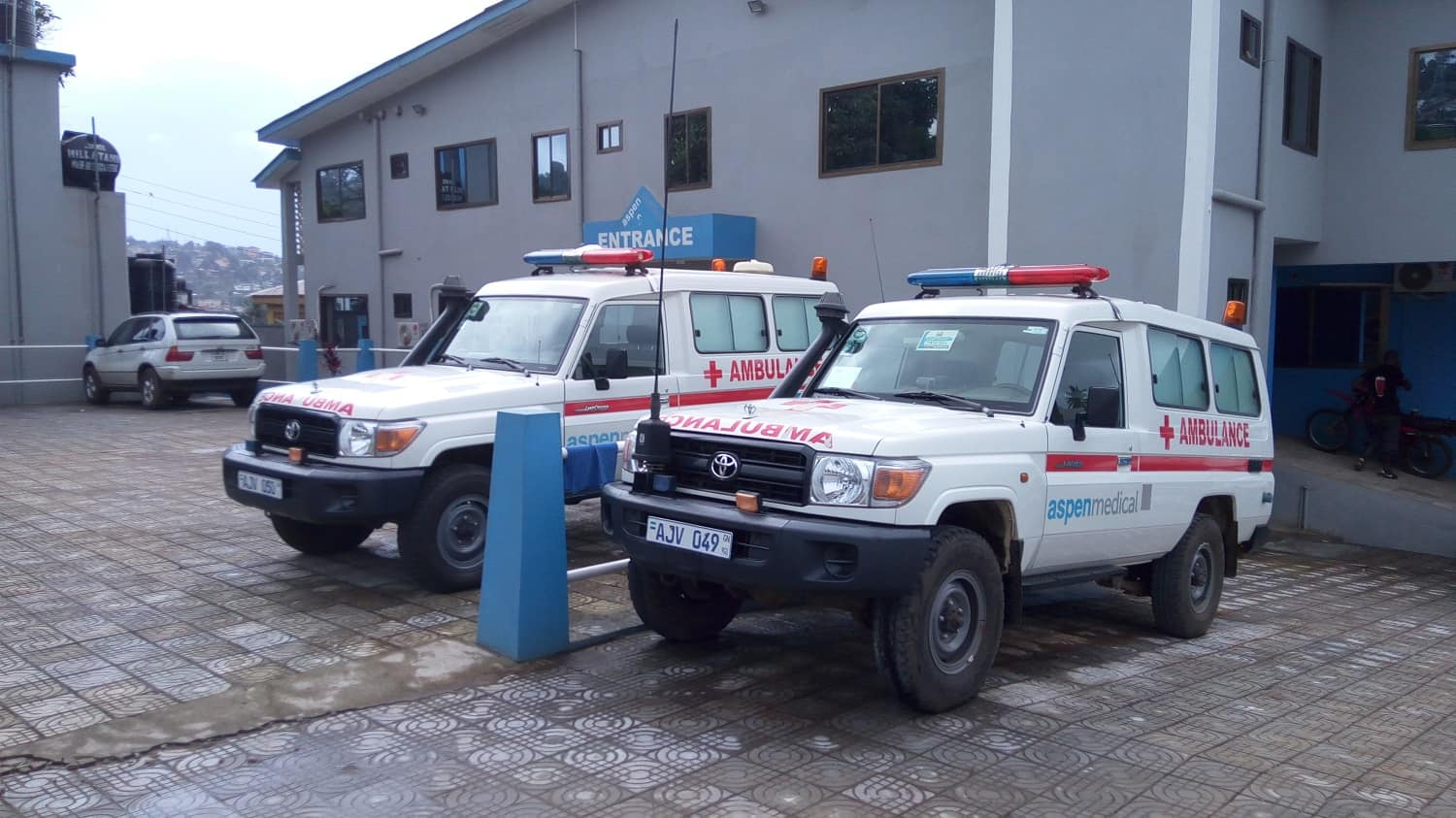 Two Aspen Medical International ambulances