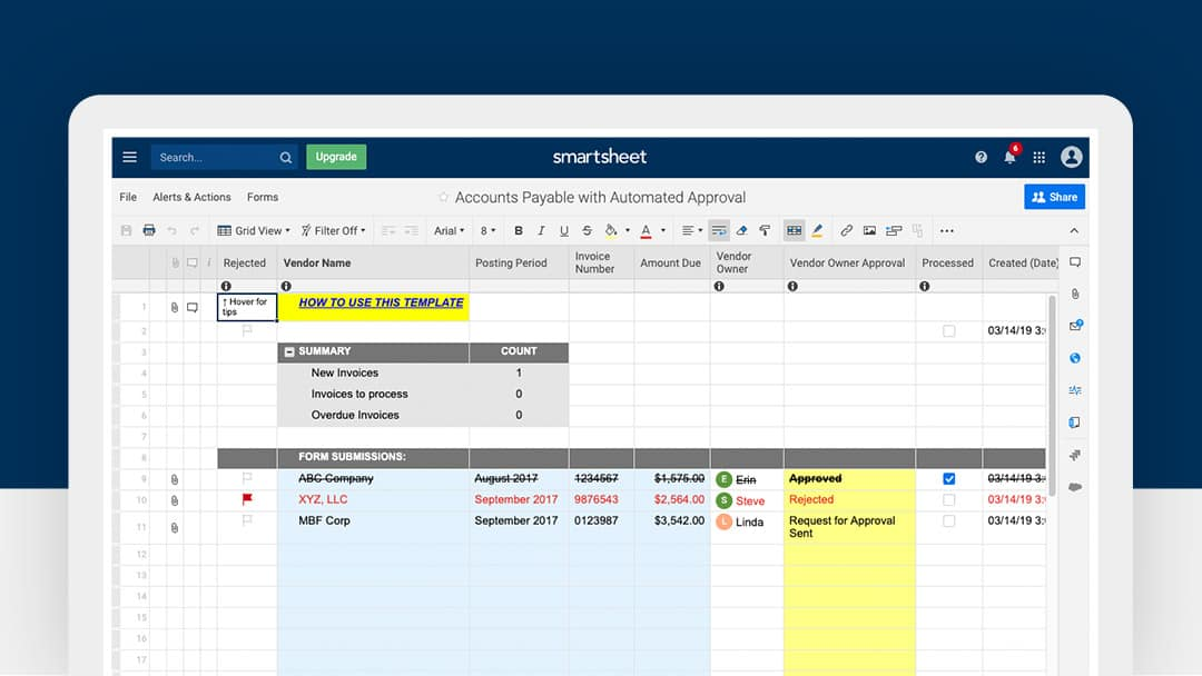 Smartsheet Accounts Payable With Automated Approval Template