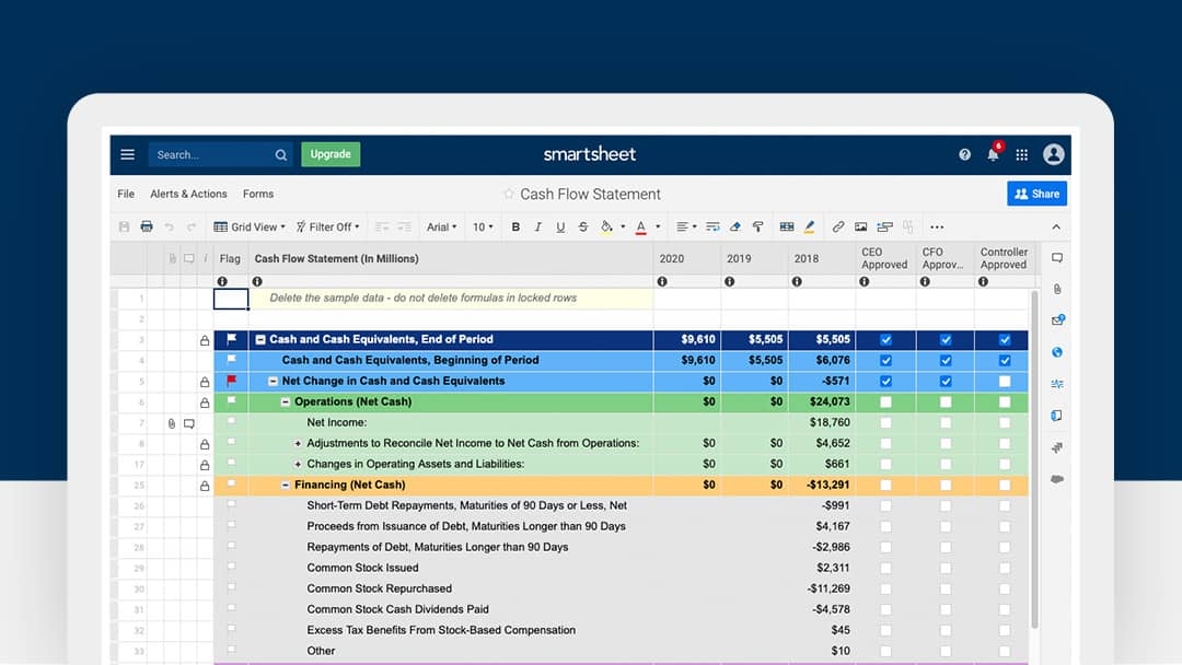 Smartsheet Cash Flow Statement Template