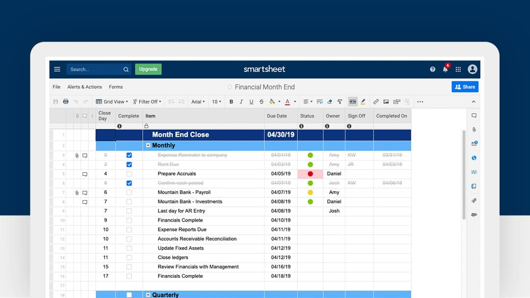 Smartsheet Financial Month End Template