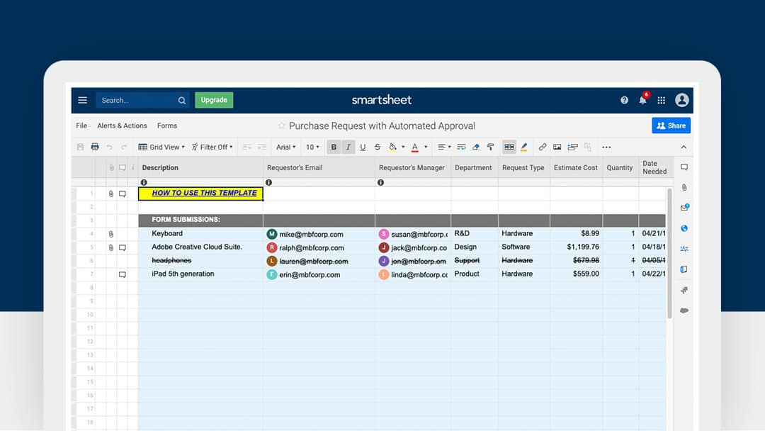 Smartsheet Purchase Request With Automated Approval Template