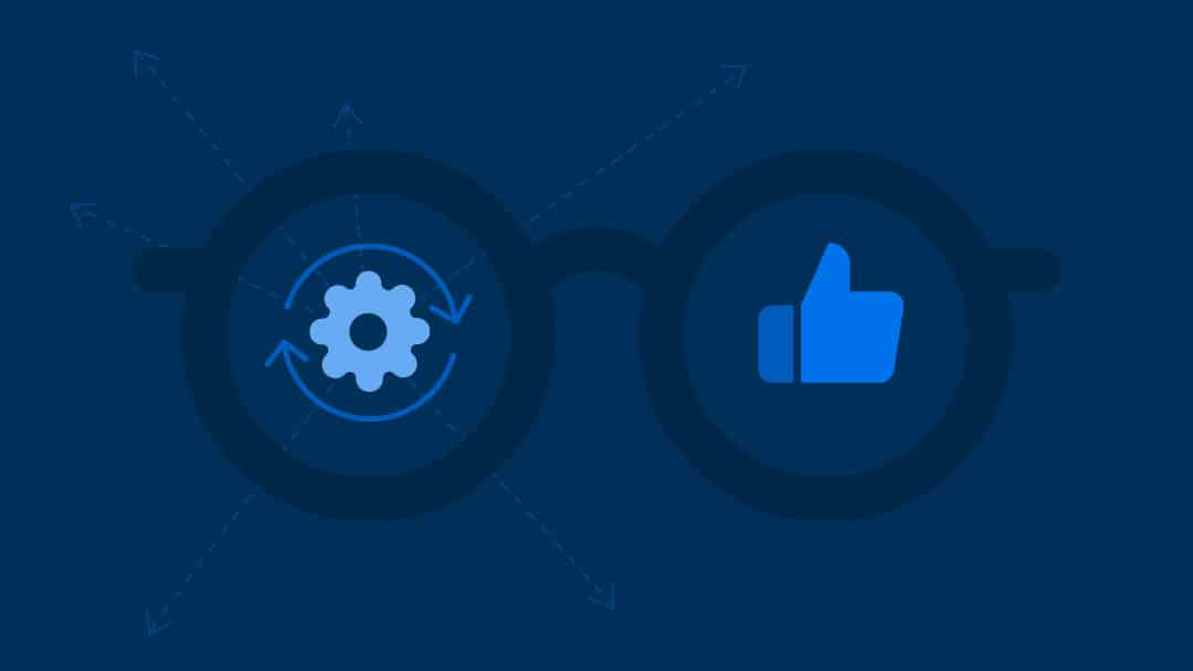Illustration of  glasses with gear and thumbs up icon
