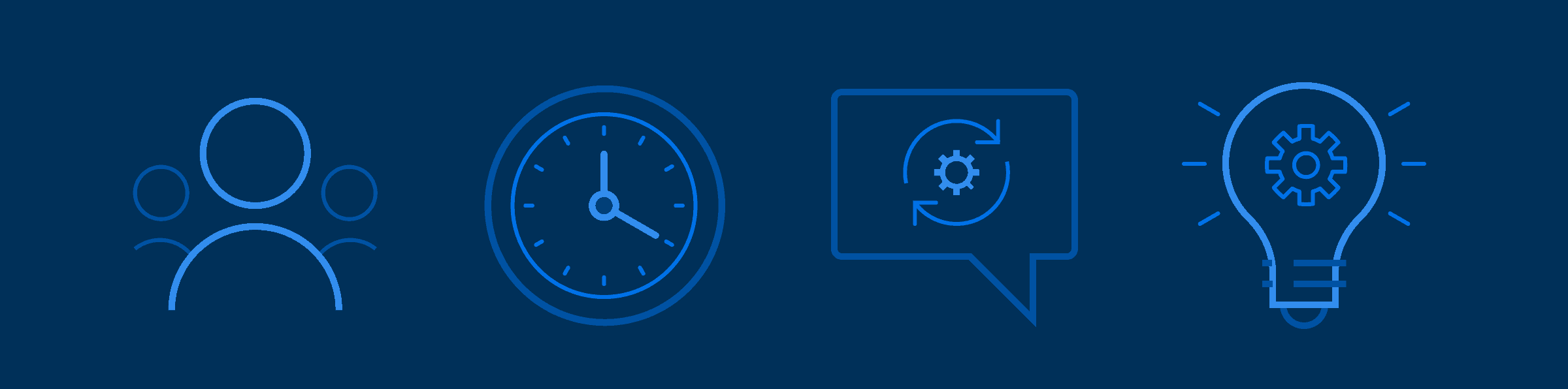 Simple line icons of a group of people, a clock, and automation