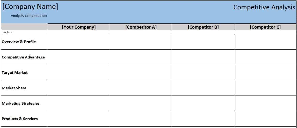 Free financial templates in excel competitive analysis templates flashek Images