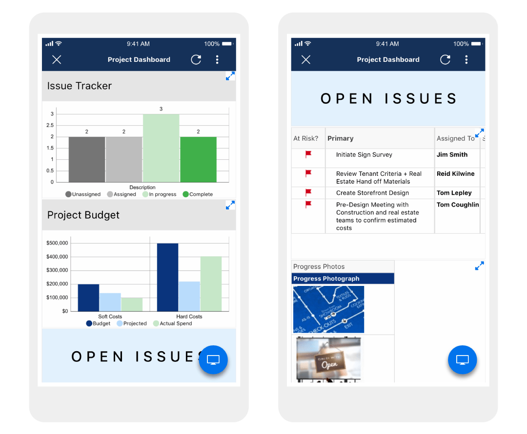 Two examples of a construction project dashboard in Smartsheet, displayed on smartphones.