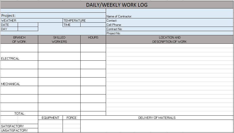 Daily Weekly Work Log Jpg Excel Template