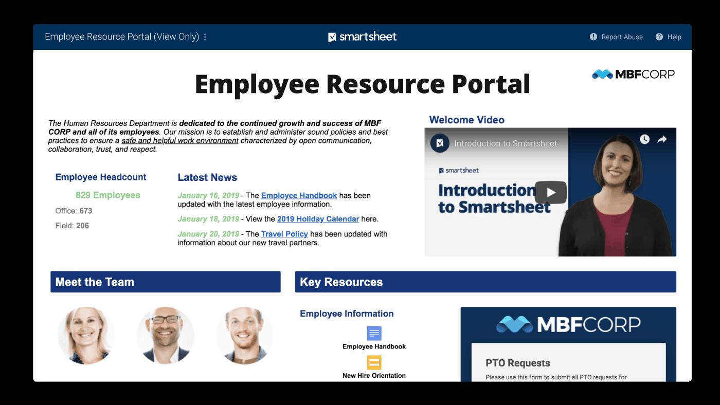Smartsheet portal for employee resources