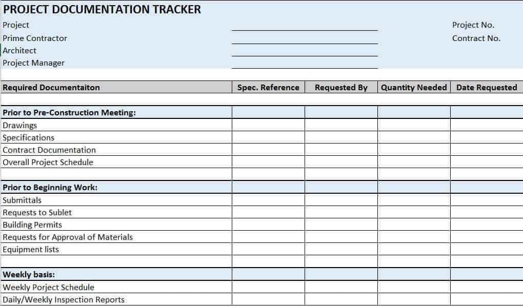 Using A Construction Doentation Tracker Template Will Ensure That You Request And Receive All Required Enable To Quickly Locate