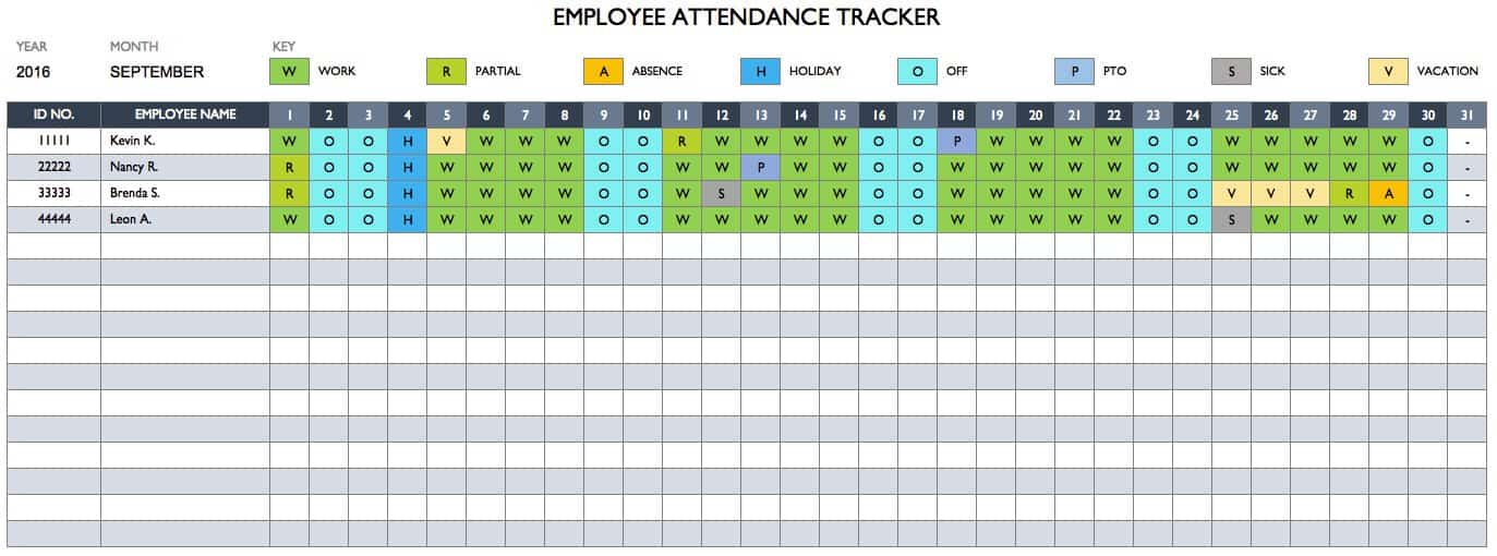 EmployeeAttendanceTracker Document Employee Attendance With This Simple Template