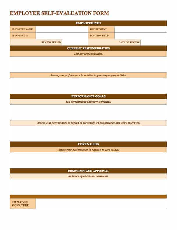 ... But They Can Actually Be A Meaningful Tool Rather Than Just A  Formality. A Self Evaluation Is A Chance To Honestly Evaluate Your Job  Performance And ...  Job Sheet Template Free Download