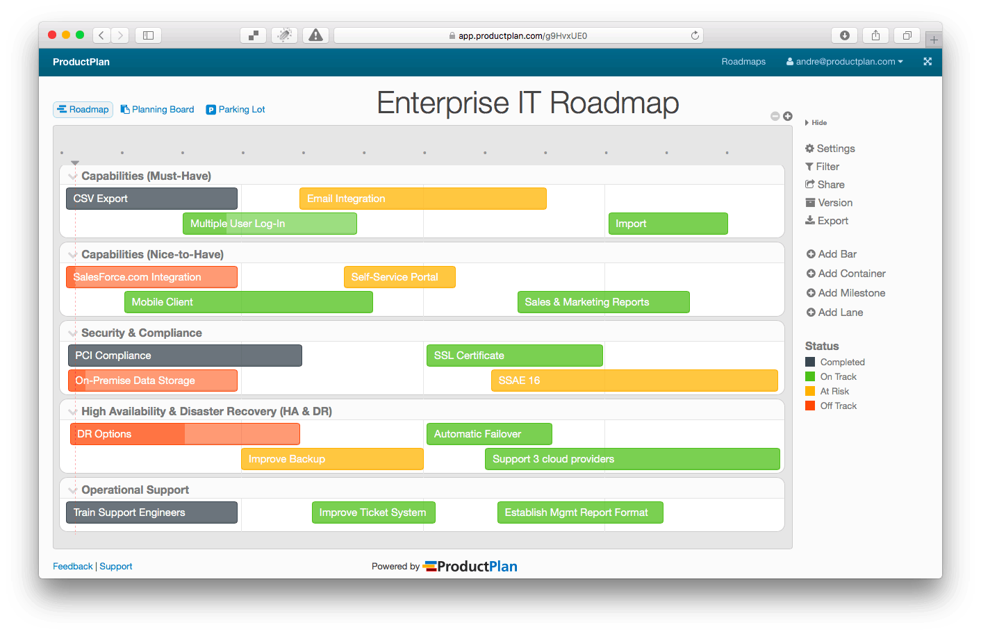 Gain A Commanding Grip On Visual Product Roadmaps - Website roadmap template