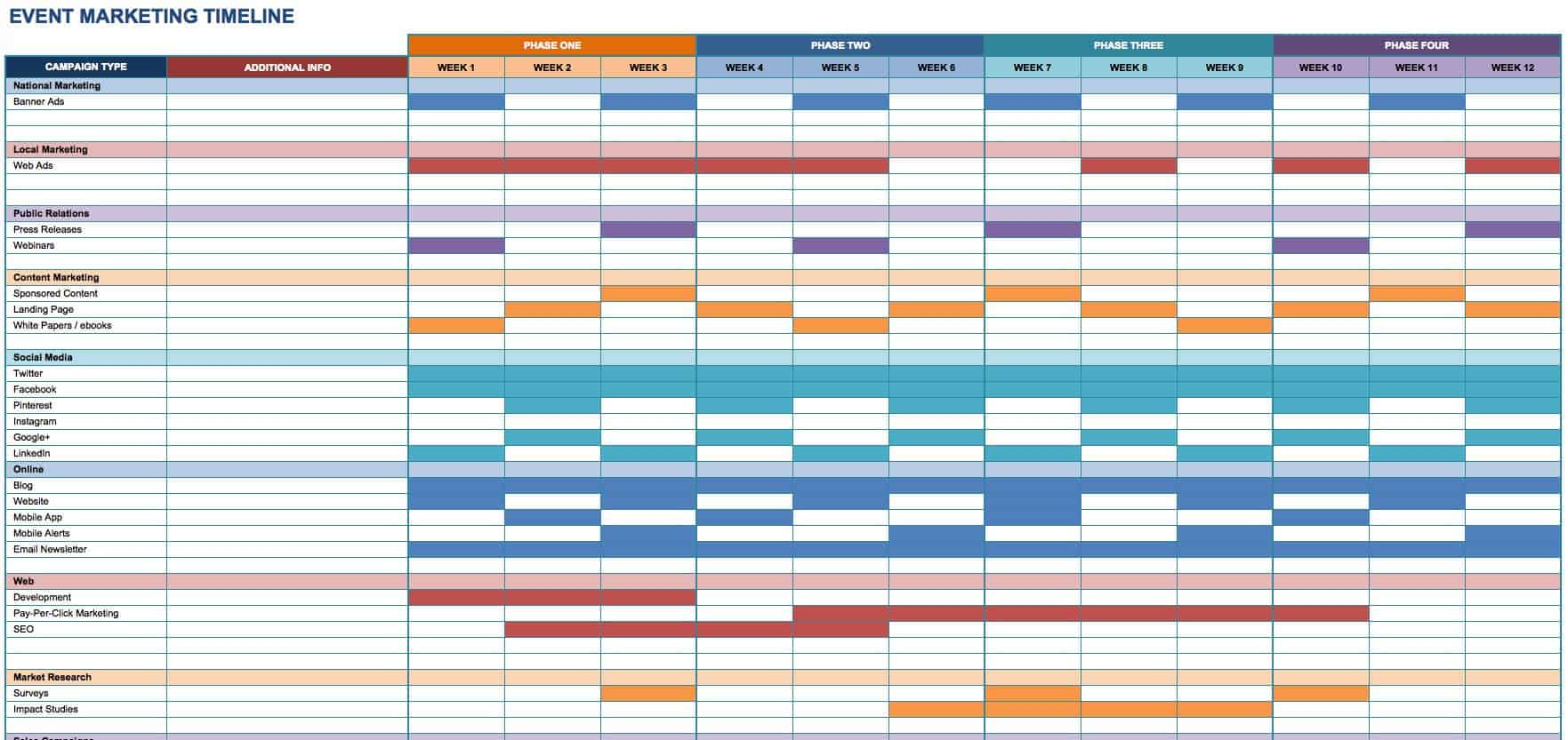 Free Marketing Timeline Tips And Templates Smartsheet - Marketing campaign schedule template