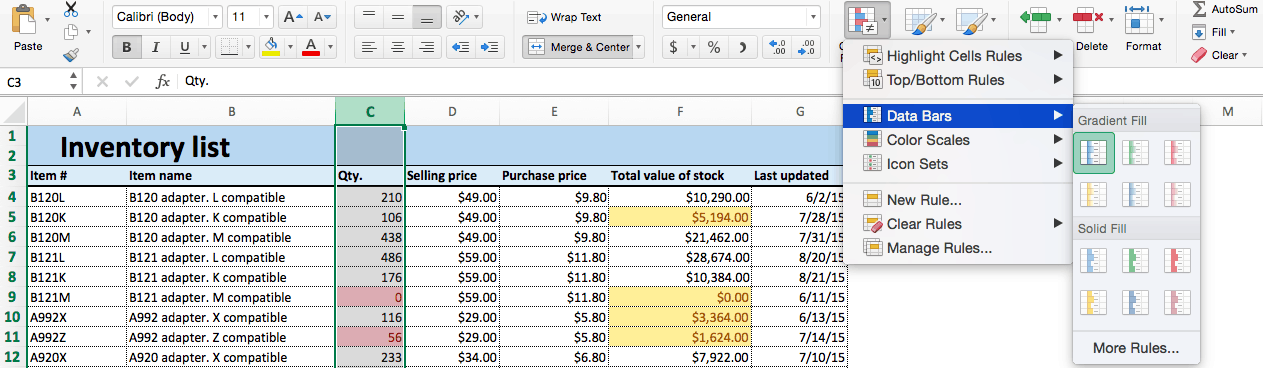 Conditional formatting choose data bars Excel