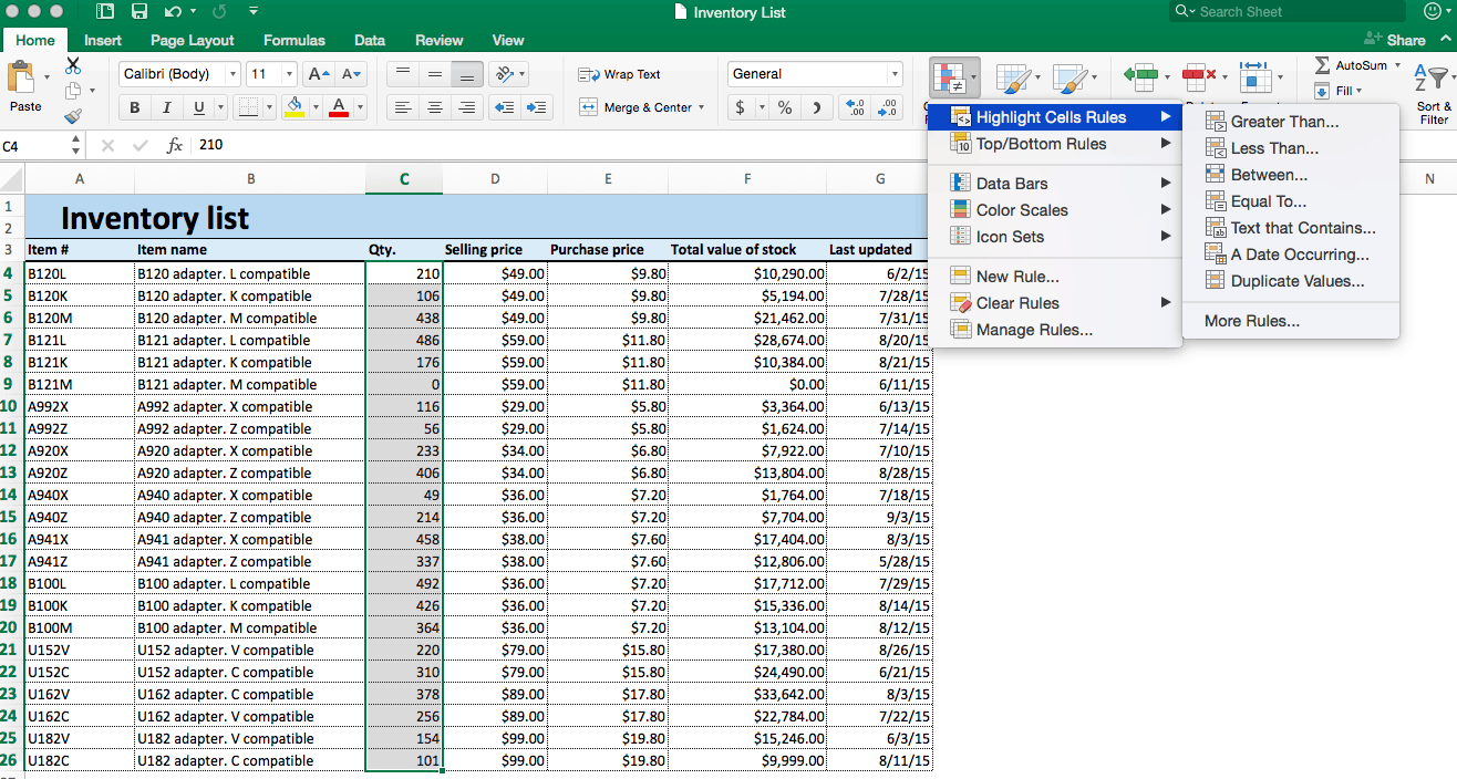 Conditional formatting highlight cells rules Excel