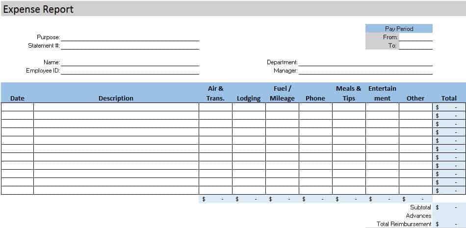 Free accounting templates in excel expensereport2g fbccfo