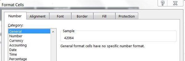 Format Cells General Number