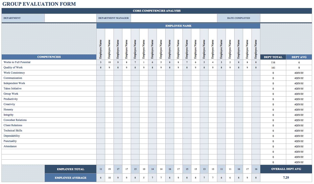 If You Need To Evaluate A Department, Team Or Other Organizational Group,  This Template Allows You To Rate Individuals For Multiple Competencies, ...  Assessment Forms Templates