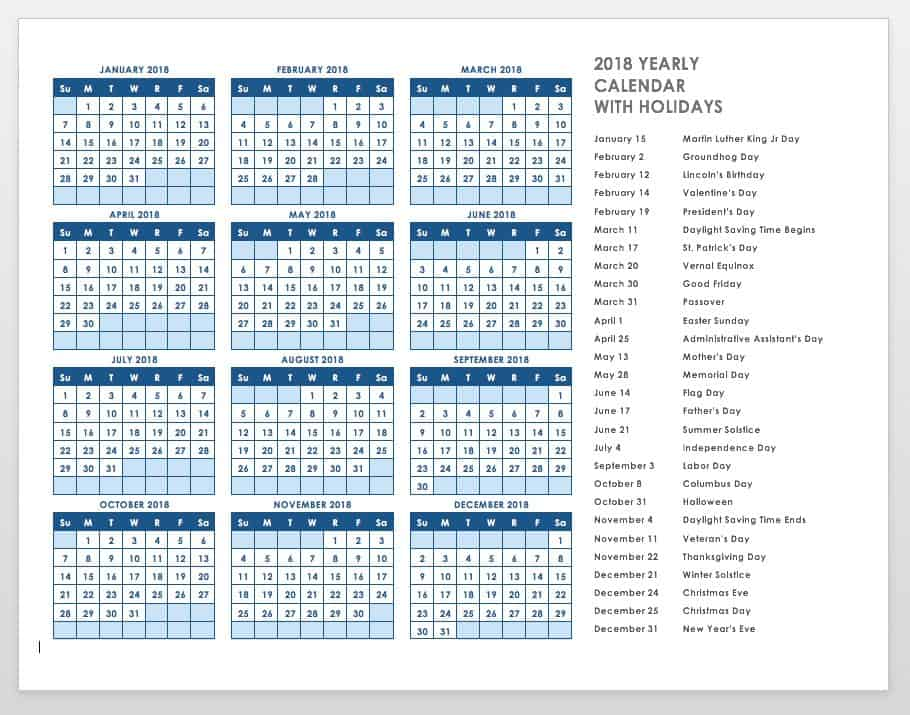 2018 yearly calendar template with holidays
