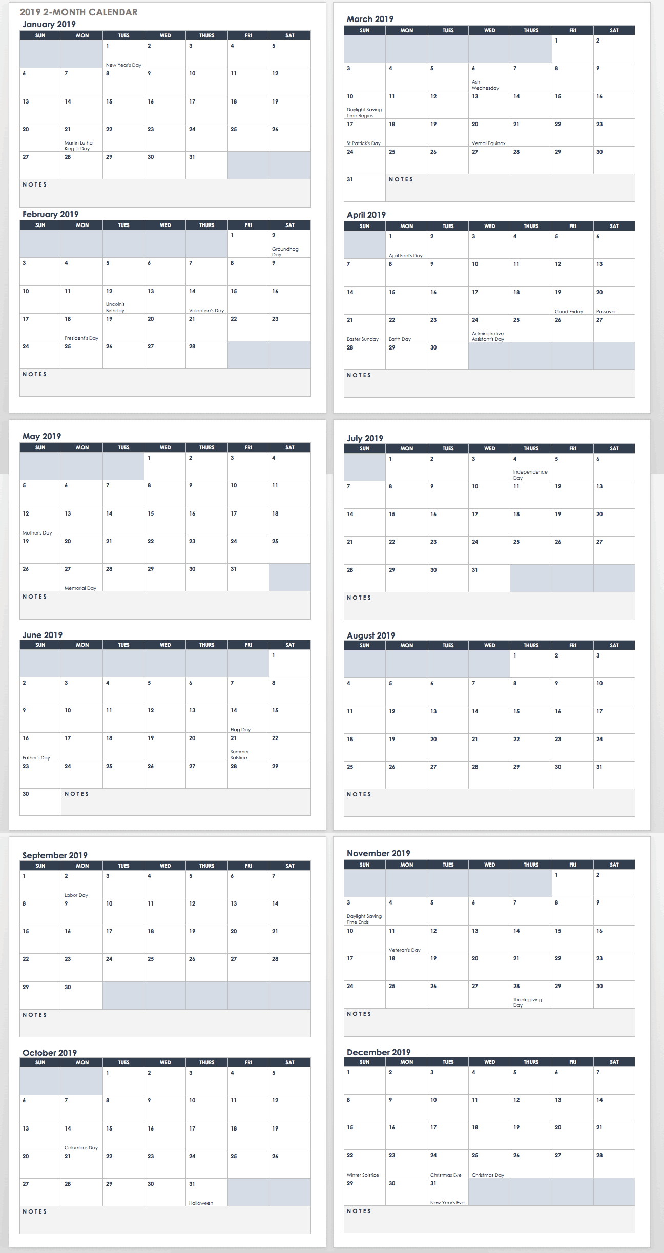 2019 2 month calendar template word