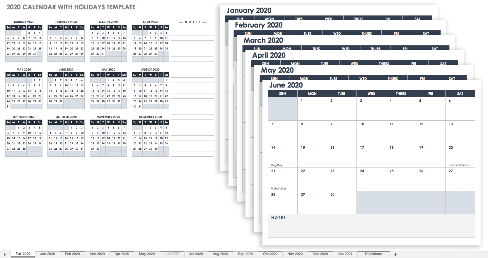 202 Calendar with Holidays Template Google
